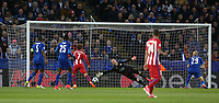 Leicester City's goalkeeper Kasper Schmeichel is beaten by the header of Atletico Madrid's Saul Niguez for the opening goal<br /> <br /> Photographer Stephen White/CameraSport<br /> <br /> UEFA Champions League Quarter Final Second Leg - Leicester City v Atletico Madrid - Tuesday 18th April 2017 - King Power Stadium - Leicester <br />  <br /> World Copyright &copy; 2017 CameraSport. All rights reserved. 43 Linden Ave. Countesthorpe. Leicester. England. LE8 5PG - Tel: +44 (0) 116 277 4147 - admin@camerasport.com - www.camerasport.com