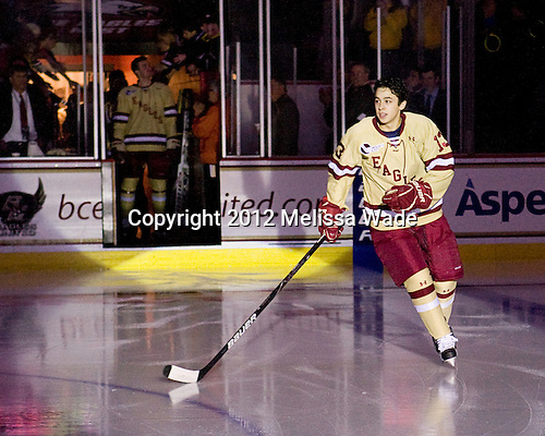 Johnny Gaudreau (BC - 13) - The Boston College Eagles defeated the visiting Northeastern University Huskies 3-0 after a banner-raising ceremony for BC's 2012 national championship on Saturday, October 20, 2012, at Kelley Rink in Conte Forum in Chestnut Hill, Massachusetts.