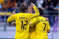 8 MAY 2010:  Eddie Gaven of the Columbus Crew (12), Robbie Rogers and Guillermo Barros Schelotto celebrate Robbie Rogers' goal during MLS soccer game between New England Revolution vs Columbus Crew at Crew Stadium in Columbus, Ohio on May 8, 2010.