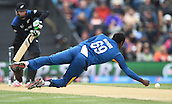 14.02.2015. Christchurch, New Zealand.  Angelo Mathews fields off his own blowing during the ICC Cricket World Cup match between New Zealand and Sri Lanka at Hagley Oval in Christchurch, New Zealand. Saturday 14 February 2015.