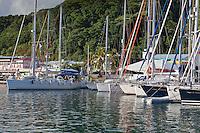 Yacht backing into dock in Raiatea