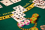 Blackjack hand in Las Vegas, Nevada, Caesars Palace and Casino, gaming, winning hand, 21, twenty one, gambling, chips, blackjack, betting, cards, NV, Las Vegas, Photo nv231-17438.Copyright: Lee Foster, www.fostertravel.com, 510-549-2202,lee@fostertravel.com