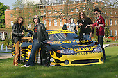 Suffolk Rockers, The Darkness, at the launch of Team Darkness Ascar racing team which will compete in the 2004 European Oval circuit race season.