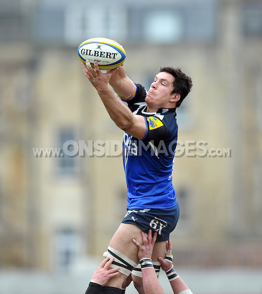 Francois Louw rises high to win lineout ball. Aviva Premiership match, between Bath Rugby and London Welsh on March 30, 2013 at the Recreation Ground in Bath, England. Photo by: Patrick Khachfe / Onside Images