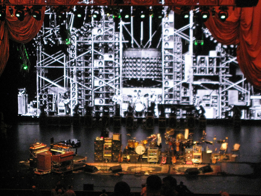 TheStage between Sets. Furthur Concert at Radio City Music Hall New York 24 February 2010. Wall of Sound Photograph Set Backdrop.