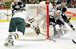 5 February 2011: University of Vermont Catamount forward H.T. Lenz, a Freshman from Vienna, VA, scores Vermont's 6th goal on a wrap-around play against the Providence College Friars at Gutterson Fieldhouse in Burlington, Vermont. The Catamounts defeated the Friars 7-1 in the second game of their weekend series. Mandatory Credit: Ed Wolfstein Photo