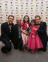 03/06/2014  <br /> Alyssa Kelly with father Se &amp; sister Amber after Alyssa recieved the Child of Courage award from  Jedward<br /> during the Pride of Ireland awards at the Mansion House, Dublin.<br /> Photo: Gareth Chaney Collins
