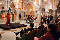 Australian violinist Niki Vasilakis plays the violin to a prominent audience, including the Jaipur Royal Family, and other VIPs during a recital at the OzFest Gala Dinner in the Jaipur City Palace, in Rajasthan, India on 10 January 2013. Photo by Suzanne Lee