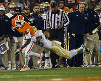 The eighth ranked Clemson Tigers defeat the Georgia Tech Yellow Jackets at Death Valley 55-31 in an ACC matchup.  Clemson Tigers wide receiver Martavis Bryant (1), Georgia Tech Yellow Jackets cornerback D.J. White (28)