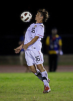 Andrew Oliver (16) of the United States takes a first touch on the ball  during the finals of the CONCACAF Men's Under 17 Championship at Catherine Hall Stadium in Montego Bay, Jamaica. The United States defeated Canada, 3-0, in overtime