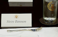 United States President Donald Trump's Chief Strategist Steve Bannon's name tag sits on the a table before a lunch in the Roosevelt Room of the White House on February 22, 2017 in Washington, DC. <br /> Credit: Olivier Douliery / Pool via CNP /MediaPunch