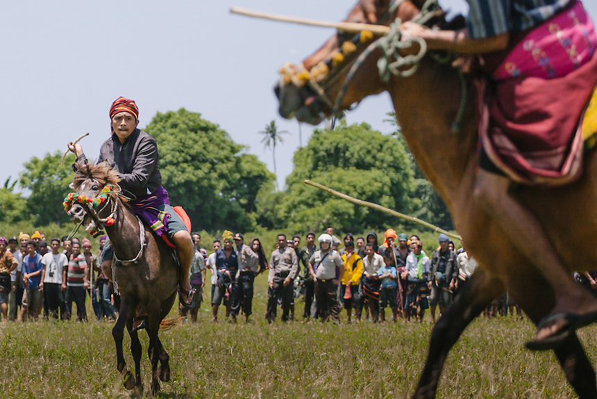 A Pasola warrior throws the spear at the enemy forces from a close range during the event in Homba Kalayo, Kodi. Pasola is an ancient tradition from the Indonesian island of Sumba. Categorized as both extreme traditional sport and ritual, Pasola is an annual mock horse warfare performed in response to the harvesting season. In the battelfield, the Pasola warriors use blunt spears as their weapon. However, fatal accident still do occurs.