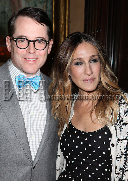 Matthew Broderick & Sarah Jessica Parker attending 'Love 'n' Courage' the 10th Annual Benefit for the Theater for the New City Emerging Playwrights Program Celebrating Charles Busch at the National Arts Club in New York City on 2/25/2013