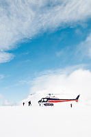 Helicopter landing on Baumann Glacier near Franz Josef, Westland National Park, West Coast, New Zealand