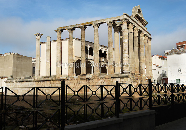 Temple of Diana, dated end of 1st Century BC ? Beginning of 1st Century AD; Identification made by D. Bernabé Moreno de Vargas, local historian, in the 17th Century gave it its name; Excavation in 1971 led the archaeologists to identify it as a Temple dedicated to the Imperial Worship, Merida (Augusta Emerita, Capital of Hispania Ulterior), Extremadura, Spain