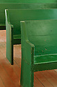 Pews at Palapala Ho'omau Church in Kipahulu; Hana Coast, Maui, Hawaii.