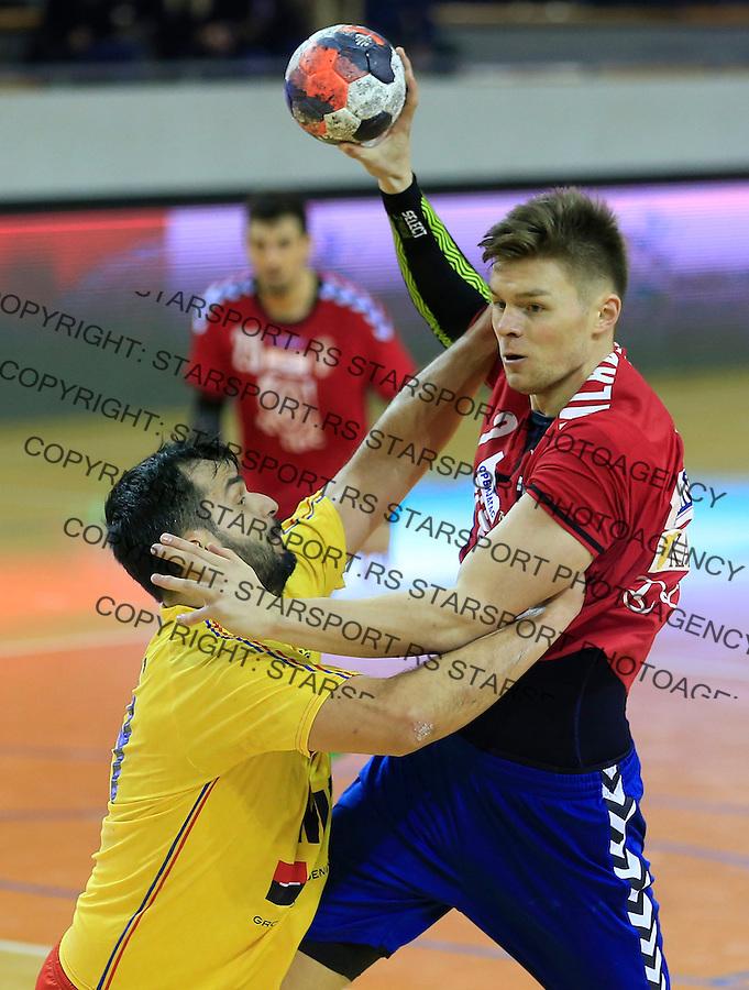 Rukomet-Handball<br /> Srbija v Rumunija-Prijateljski mec friendly match<br /> Nemanja Mladenovic (R)<br /> Beograd, 28.12.2015.<br /> foto: Srdjan Stevanovic/Starsportphoto&copy;