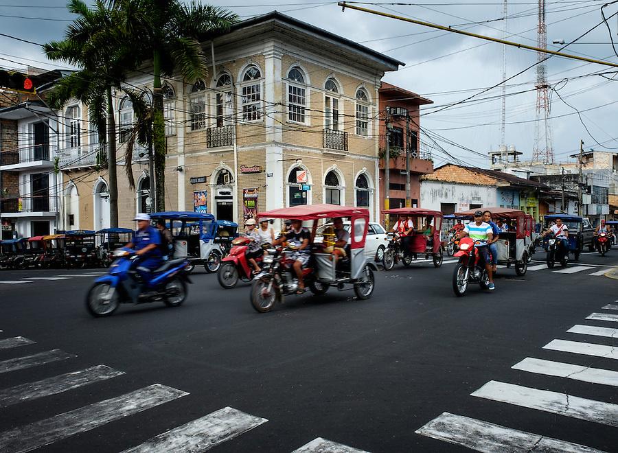 IQUITOS, PERU - CIRCA OCTOBER 2015:  Street in Iquitos, a city in the Peruvian Amazon.