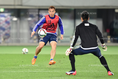 Shinji Okazaki (JPN), <br /> MARCH 30, 2015 - Football / Soccer : <br /> Japan training session <br /> at Tokyo Stadium in Tokyo, Japan. <br /> (Photo by AFLO SPORT)