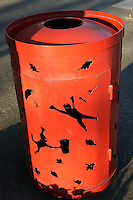 Whimsical red garbage can,  Bellingham, Washington State, USA              .