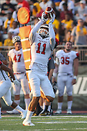 Towson, MD - September 9, 2016: St. Francis (Pa) Red Flash wide receiver Kamron Lewis (11) catches a pass during game between Towson and St. Francis at Minnegan Field at Johnny Unitas Stadium  in Towson, MD. September 9, 2016.  (Photo by Elliott Brown/Media Images International)