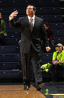 Dec. 18, 2010; Charlottesville, VA, USA; UMBC Retrievers head coach Phil Stern reacts to a call during the game against the Virginia Cavaliers at the John Paul Jones Arena.  Mandatory Credit: Andrew Shurtleff