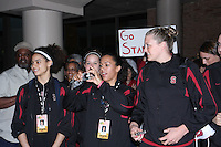 6 April 2008: Stanford Cardinal (L-R) Cissy Pierce, JJ Hones, Rosalyn Gold-Onwude, and Jayne Appel during Stanford's send-off for the 2008 NCAA Division I Women's Basketball Final Four semifinal game at the Westin Harbour Island hotel in Tampa, FL.