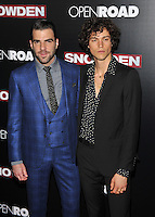 New York,NY-September 13: Zachary Quinto,Miles McMillan attends the 'Snowden' New York premiere at AMC Loews Lincoln Square on September 13, 2016 in New York City. @John Palmer / Media Punch