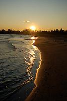 The sun setting the sandy shores of Lake Michigan. Nahma, MI.