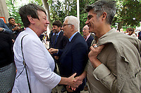 Venice, Italy - 15th Architecture Biennale 2016, &quot;Reporting from the Front&quot;.<br /> Giardini.<br /> German Pavilion. MAKING HEIMAT. Germany, Arrival Country. Opening with German Minister of Construction, Mrs. Barbara Hendricks (white jacket), here with Biennale President Paolo Baratta (m.) and Architecture Biennale 2016 Director Alejandro Aravena.