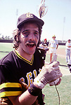 The Eagles 1978 Glenn Frey celebrates at Eagles vs Rolling Stone Mag softball game.