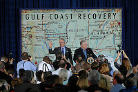 President Bush is joined by Mississippi Governor Haley Barbour at St.Stanislaus College in Bay St. Louis, Mississippi on Thursday Jan 12,2006. The President discussed the Gulf Coast recovery efforts.