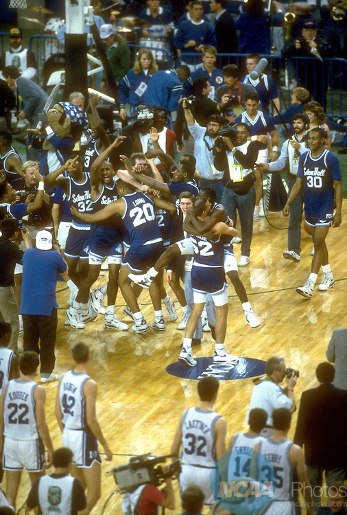 01 APR 1989:  Seton Hall celebrates their victor over Duke during the NCAA Men's National Basketball Final Four semifinal game held in Seattle, WA, at the Kingdome. Seton Hall defeated Duke 95-78 to meet Michigan in the final game.  Photo by Rich Clarkson/NCAA Photos.SI CD1647-97