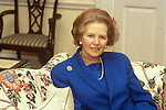 Mrs Maggie Margaret Thatcher 1983 in her top floor, Downing Street London flat.