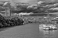 London River Thames view in black and white.
