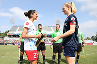 Cary, North Carolina  - Sunday May 21, 2017: Christen Press and Samantha Mewis prior to a regular season National Women's Soccer League (NWSL) match between the North Carolina Courage and the Chicago Red Stars at Sahlen's Stadium at WakeMed Soccer Park. Chicago won the game 3-1.