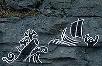 Europe/Norvège/Iles Lofoten/Sund : Rochers peints
