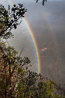 A rainbow over Kilauea Iki Crater along the Kilauea Iki trail in Hawaii Volcanoes National Park.