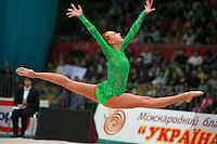"Natalya Godunko of Ukraine split leaps for re-catch at 2008 World Cup Kiev, ""Deriugina Cup"" in Kiev, Ukraine on March 23, 2008."