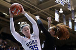17 November 2016: Duke's Erin Mathias (35) grabs a rebound over Grand Canyon's Tanesha Daniels (right). The Duke University Blue Devils hosted the Grand Canyon University Antelopes at Cameron Indoor Stadium in Durham, North Carolina in a 2016-17 NCAA Division I Women's Basketball game. Duke won the game 90-47.