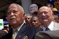 Former NYC Mayors David Dinkins (L) and Edward I. Koch (R) endorse NYC Comptroller William Thompson for re-election on the steps of NY City Hall on July 20, 2005. Thompson faces no opponent in the Democratic Primary and only token opposition in the general election from a candidate on the Conservative Party. Thompson's office controls thousands of millions of dollars in city money and union pension funds as well as being the fiscal watchdog for city spending. (© Richard B. Levine)