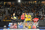 Die Spieler auf der Buehne die den Loewenkaefig verlassen: v.l. Rhein-Neckar Loewe Roko Peribonio (Nr.12), Rhein-Neckar Loewe Bastian Rutschmann (Nr.23), Rhein-Neckar Loewe Bjarte Myrhol (Nr.18), Rhein-Neckar-Loewe David Schmidt (Nr.77) und Rhein-Neckar Loewe Niklas Jacobsen Landin (Nr.20)  im Spiel des DHP Pokal, Rhein-Neckar Loewen - TSG Friesenheim.<br /> <br /> Foto &copy; P-I-X.org *** Foto ist honorarpflichtig! *** Auf Anfrage in hoeherer Qualitaet/Aufloesung. Belegexemplar erbeten. Veroeffentlichung ausschliesslich fuer journalistisch-publizistische Zwecke. For editorial use only.