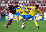 Hearts v St Johnstone...05.02.12.. Scottish Cup 5th Round.Fran Sandaza and Andy Webster.Picture by Graeme Hart..Copyright Perthshire Picture Agency.Tel: 01738 623350  Mobile: 07990 594431