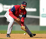 30 June 2007: Lowell Spinners infielder Michael Jones warms up prior to a game against the Vermont Lake Monsters at Historic Centennial Field in Burlington, Vermont. The Spinners defeated the Lake Monsters 8-4 in the last game of their 3-game, NY Penn-League series...Mandatory Photo Credit: Ed Wolfstein Photo