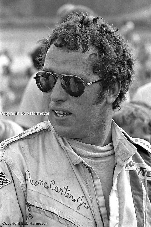 "Duane ""Pancho"" Carter, Jr. at a 1976 USAC sprint car race at Eldora Speedway near Rossburg, Ohio."
