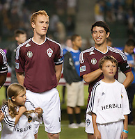 CARSON, CA – September 9, 2011: Colorado Rapid players Jeff Larentowicz (4) and Kosuke Kimura (27) before the match between LA Galaxy and Colorado Rapids at the Home Depot Center in Carson, California. Final score LA Galaxy 1, Colorado Rapids 0.