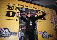 Apr. 1, 2012; Las Vegas, NV, USA: NHRA funny car driver Alexis DeJoria during the Summitracing.com Nationals at The Strip in Las Vegas. Mandatory Credit: Mark J. Rebilas-