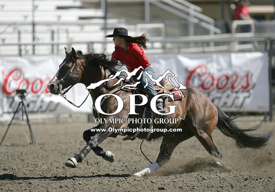 25 Aug 2010:  Serena Mote scored a time of 18.33 in the Barrel Racing slack matinee competition at the Kitsap County Stampede Wrangle Million Dollar PRCA Silver Rodeo Tour in Bremerton, Washington.