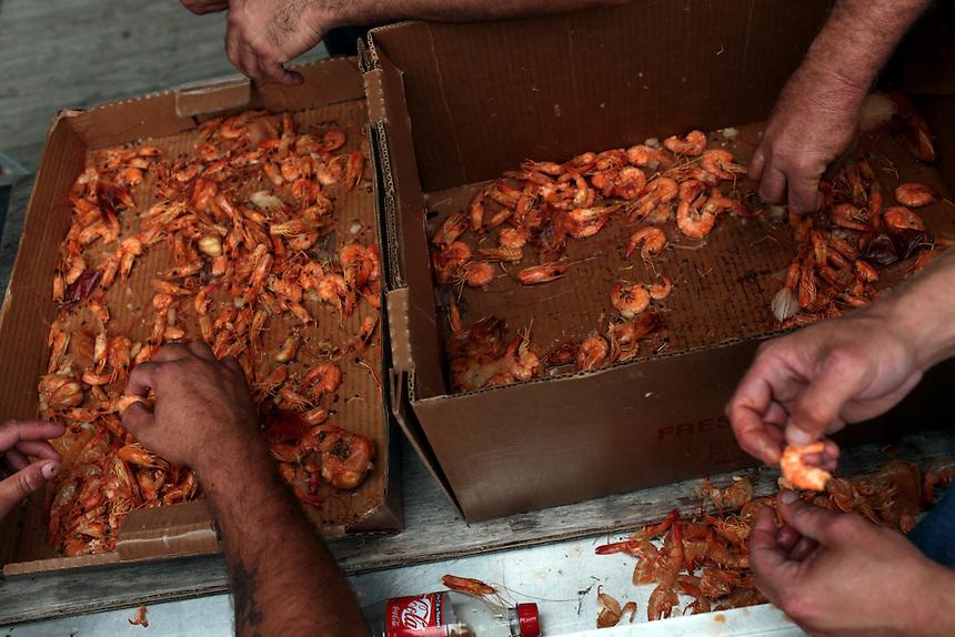 Boiling shrimp on Delacroix Island , LA August 26th, 2010.