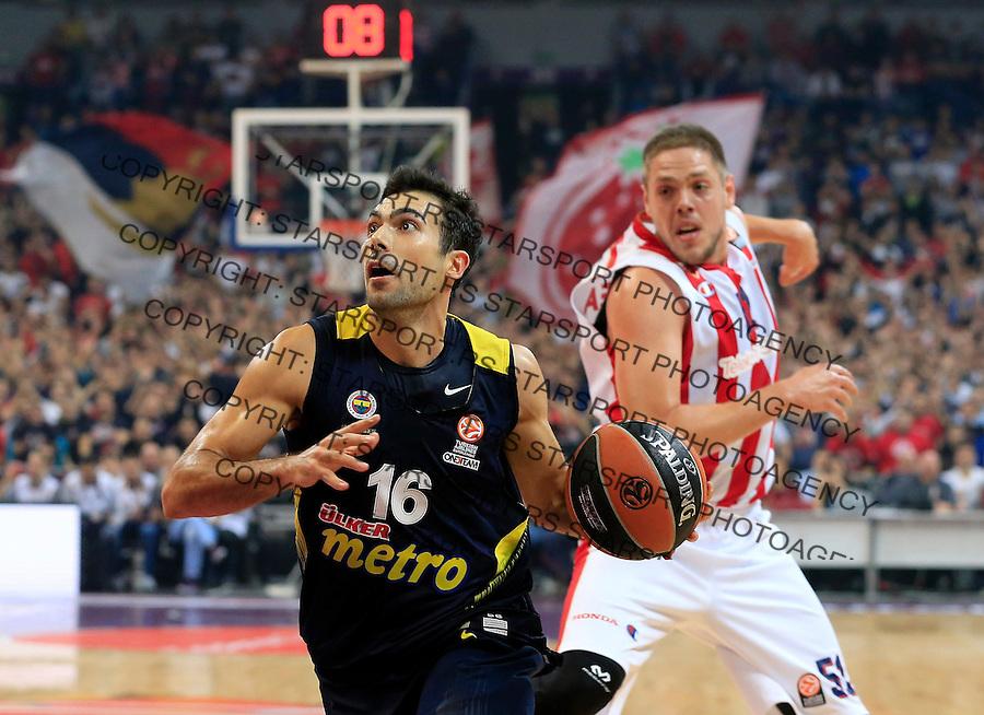 Kosarka Euroleague season 2015-2016<br /> Euroleague <br /> Crvena Zvezda v Fenebahce Istanbul<br /> Kostas Sloukas (L0 and Vladimir Stimac<br /> Beograd, 06.11.2015.<br /> foto: Srdjan Stevanovic/Starsportphoto &copy;